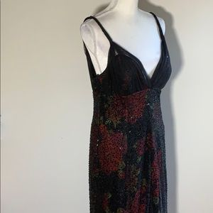 Teri Jon -Rickie Freeman Silk Beaded Evening Dress